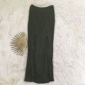American Eagle Moss Green Double Slit Maxi Skirt